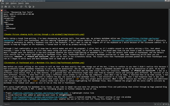 Screenshot of Featherpad with a Markdown File Open