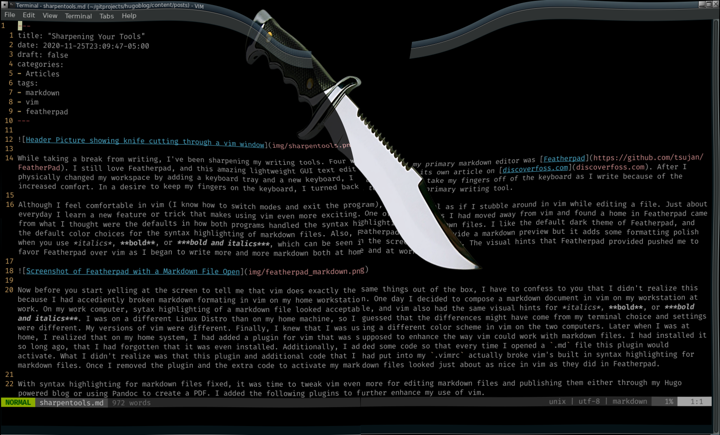 Header Picture showing knife cutting through a vim window